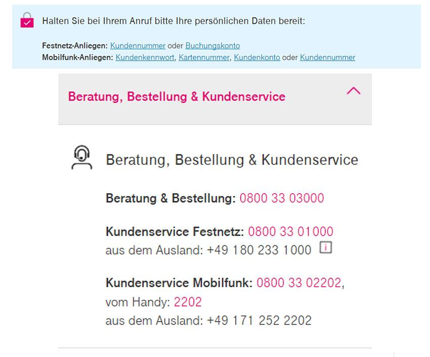 Störungsmeldungen bei der Telekom